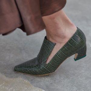 Miista London Constance Green croc leather heels